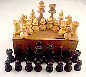Old Wooden Chess Pieces in Box (Image1)