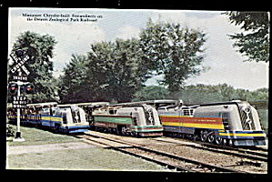 1907 Miniature Chrysler Streamliners (Trains) Postcard (Image1)
