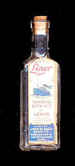 1920s Liner Brand (Ship) 'extract Of Lemon' Bottle