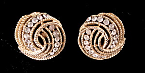 "Trifari 1"" Swirl Gold Tone with Stones Earrings (Image1)"