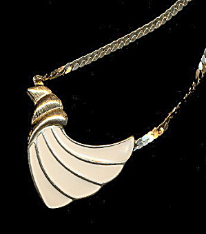 Vintage Trifari Cream & Goldtone Pendant Necklace (Image1)