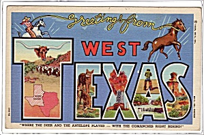 Greetings from West Texas Large Letter 1940s Postcard (Image1)