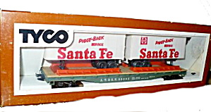 Tyco Santa Fe Piggy Back Trailers In Original Box