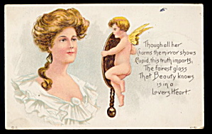 Lovely Valentine's Day Girl with Cupid 1913 Postcard (Image1)