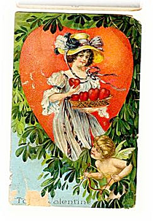 Girl with Cherub Valentine's Day 1907 Postcard (Image1)