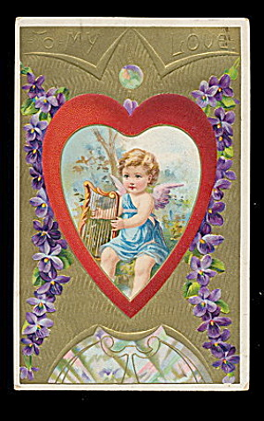 Lovely Valentine's Day Cherub in Heart 1911 Postcard (Image1)