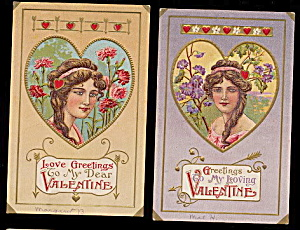 2 Lovely Girl w Braided Hair Valentine's Day Postcards (Image1)