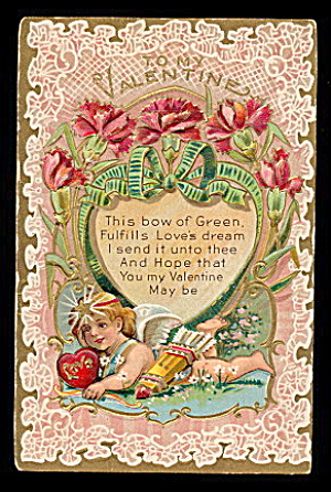Lovely 'To My Valentine' Cherub 1908 Postcard (Image1)