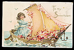 Tucks Valentine's Day Girl in Boat Postcard (Image1)