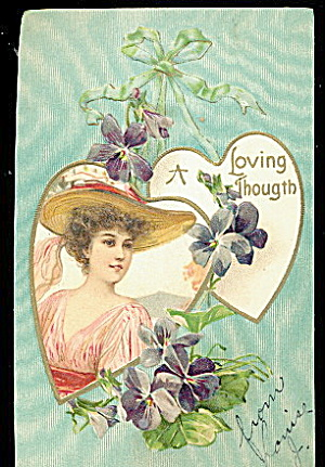Lovely Valentine's Day Girl in Hat 1906 Postcard (Image1)