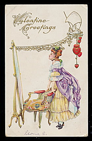Lovely Colonial Girl Valentine's Day 1912 Postcard (Image1)