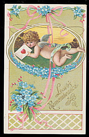 Lovely 1910 Children Cherub Valentine's Day Postcard (Image1)