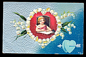 Lovely Cherub in Heart Valentine's Day 1908 Postcard (Image1)