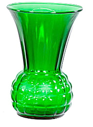 "Lovely Vintage 9"" Green Glass Vase (Image1)"
