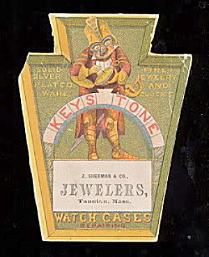 Keystone JEWELER Watch Cases Die Cut Trade Card (Image1)