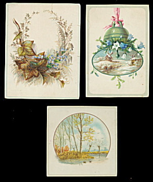 3 1870s-1890s Floral Greetings Cards