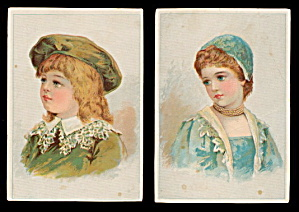2 1870s-1890s Victorian Children Greeting Cards (Image1)