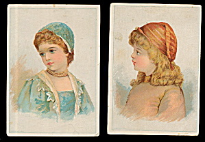 2 1870s-1890s Victorian Children Greeting Cards