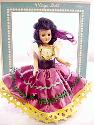 Virga Doll Hard Plastic 1950s Spanish Dancer in Box (Image1)