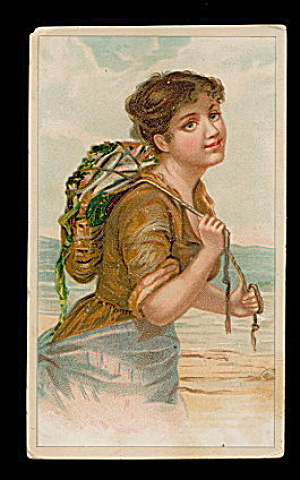 1890 'ariosa Coffee' Girl W Fish Victorian Trade Card