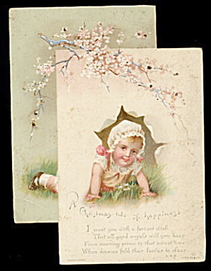1880s Christmas-Tide Diecut Girl Crawling Card (Image1)
