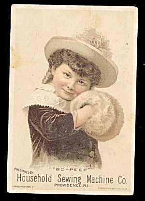 1885 Girl/muffler Household Sewing Machine Trade Card