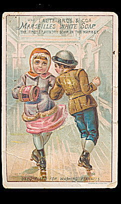 1880s Marseilles White Soap Children SkateTrade Card (Image1)