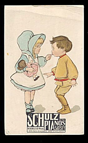 1880s Schulz Pianos Children Victorian Trade Card (Image1)