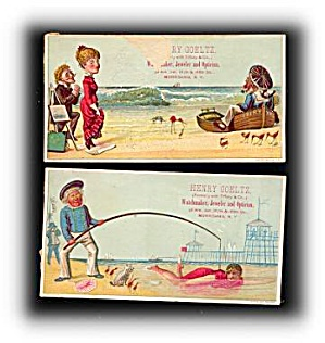 2 1880s Morrisania Nj Jeweler Trade Cards