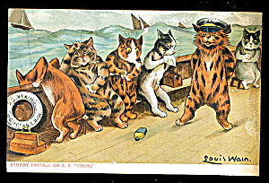 Louis Wain Stormy Passage Cats 1907 Postcard