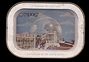 "Expo 1967 World's Fair 5"" X 7"" Metal Tray"