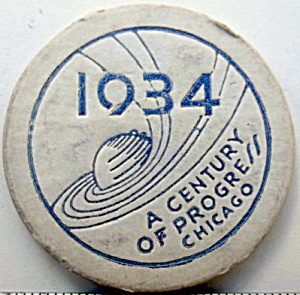 1934 Chicago World Fair Souvenir Cardboard Poker Chip (Image1)