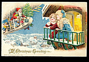 1908 Winsch Christmas Santa In Balloon Postcard