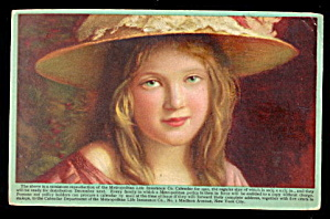 1910 Metropolitan Life Insurance Girl With Hat Postcard