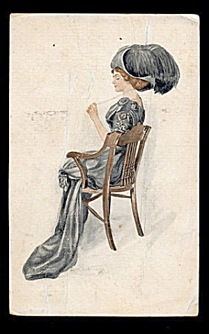 Lovely Lady in Blue /Hat Anna Nordstrom-Feind Postcard (Image1)