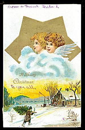 Christmas Angels With Star 1908 Postcard