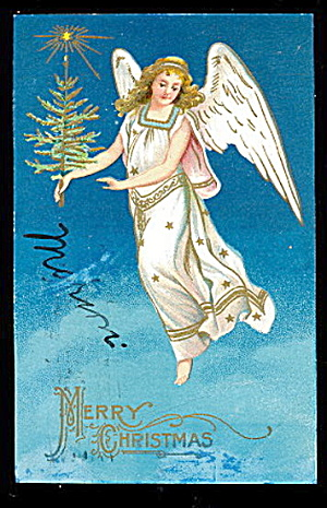 Christmas Angel With Tree Embossed 1907 Postcard
