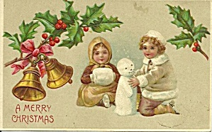 1907 Children Building Snowman Christmas Postcard