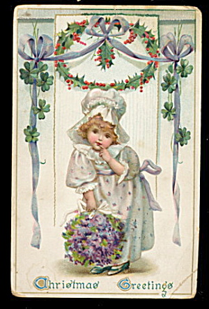 Lovely Tucks Christmas Greetings Girl 1907 Postcard (Image1)