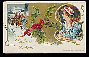Lovely Colonial Girl 1907 Christmas Postcard (Image1)