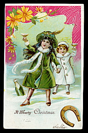 Lovely Christmas Girls in Coats 1906 Postcard (Image1)