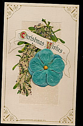 Lovely Winsch Christmas Wishes w Felt Flower Postcard (Image1)