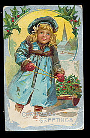 Lovely Christmas Girl Pulling Sled 1908 Postcard (Image1)