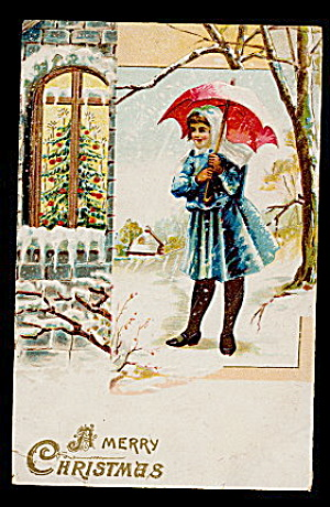 Lovely Girl with Umbrella Christmas 1907 Postcard (Image1)