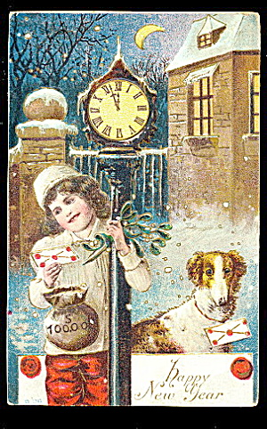 1907 New Years Greetings W Dog Postcard