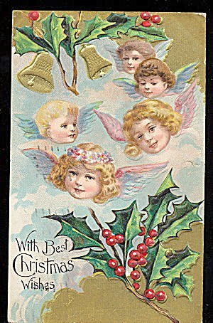 Lovely Christmas Children Angels 1913 Postcard (Image1)
