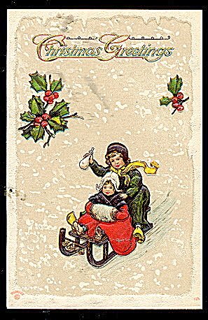 Christmas Greetings Children Sledding 1907 Postcard (Image1)