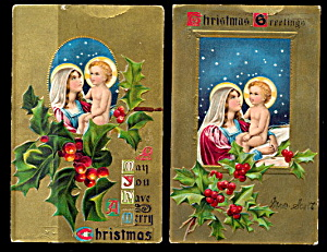 2 1908 Christmas Madonna $ Child Postcards