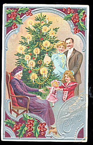 Family In Front Of Christmas Tree 1908 Postcard