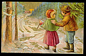 'a Joyful Christmas' Children In Woods 1907 Postcard